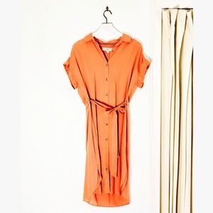 Thread & Supply Button Down Tie Waist Shirt Dress